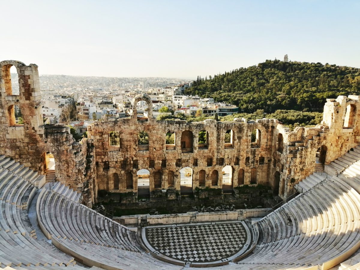 View of amphitheater at Acropolis in Athens